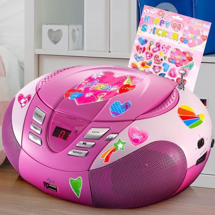 Rosae Mädchen CD Player USB Stereo Radio Kinder Zimmer Musik Anlage Herz Sticker