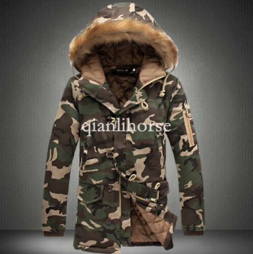 mens military cotton padded hooded camouflage casual thicken coat jacket outwear