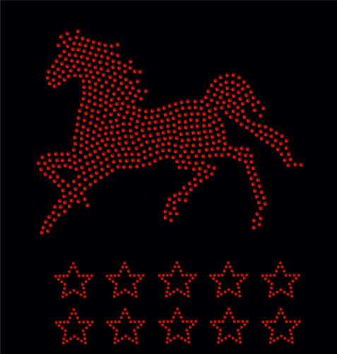 clear Horse Gallop 10 stars iron on Rhinestone Transfer crystal applique patch