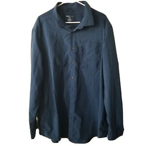 Mens-3XL-Long-Sleeved-Swiss-Tech-Shirt-Blue-Zip-Pocket-Button-Up
