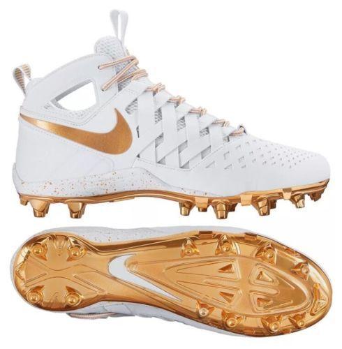 Nike Huarache V 807142-170 Men's Lacrosse Cleats White/Metallic Gold 807142-170 V Sz 8 354599