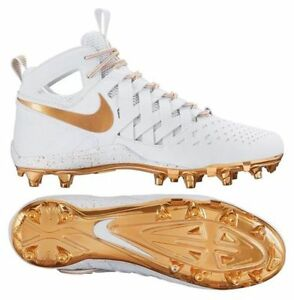 Nike Huarache V Men s Lacrosse Cleats White Metallic Gold 807142-170 ... 44ad615a1449