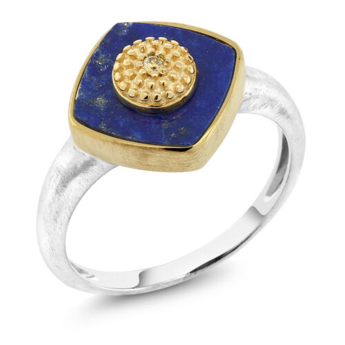 Simulated-Lapis Lazuli and Yellow Diamond 14K Yellow Gold Plated 925 Silver Ring