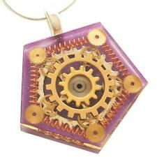 STEAMPUNK PURPLE NECKLACE PENDANT PENTAGON WATCH PARTS GEARS RESIN  HAND MADE