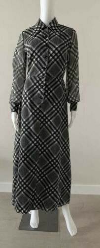 Vintage 70s Gingham Black And White Maxi Dress Siz