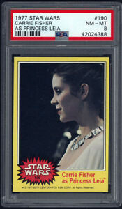 1977-Topps-Star-Wars-190-CARRIE-FISHER-AS-PRINCESS-LEIA-PSA-8-NM-MT