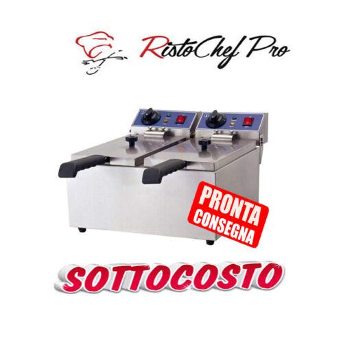 FRIGGITRICE ELETTRICA PROFESSIONALE DOPPIA IN ACCIAIO  DA BANCO 13+13 LITRI LT
