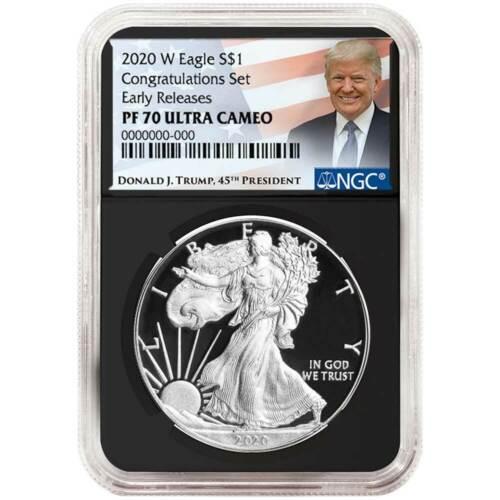 2020-W Proof $1 American Silver Eagle Congratulations Set NGC PF70UC Trump ER La