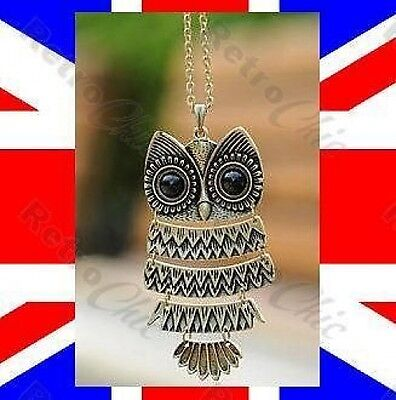 BIG RETRO ARTICULATED OWL pendant NECKLACE long chain BLACK EYES vintage style