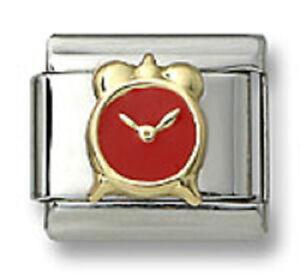 New-18k-Gold-Italian-Charm-Red-Enamel-Alarm-Clock-9-mm-Bracelet-Modular-Link