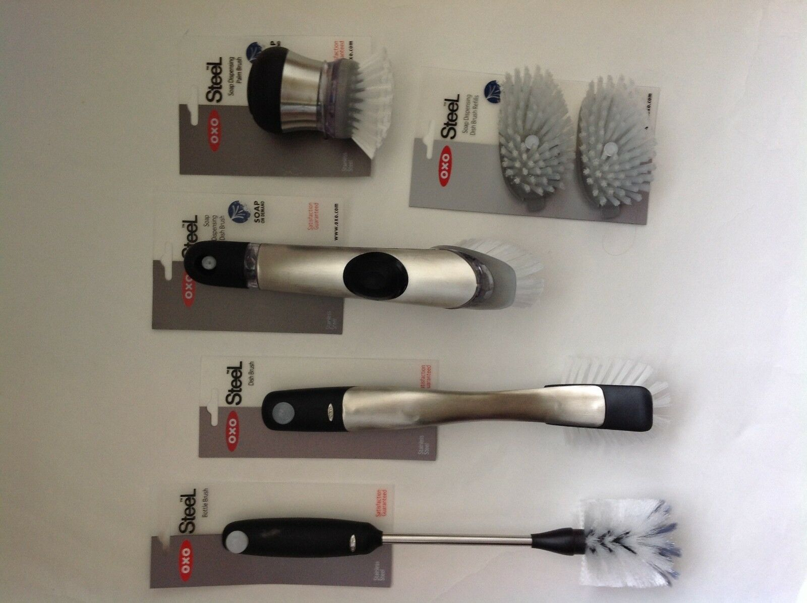 New OXO Good Grips Steel 5 Bottle, Palm and Dish Brushes With Refills