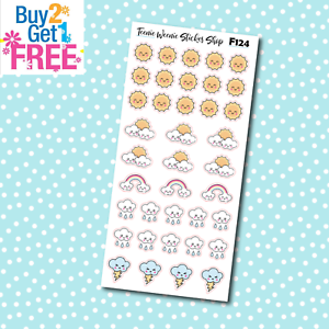 Weather Kawaii Icons Planner Stickers for Erin CondrenHappy Planner F124