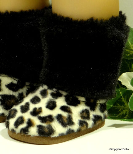 "**SALE** LEOPARD Print Black FURRY DOLL BOOTS SHOES fits 18/"" AMERICAN GIRL Doll"
