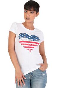 Women-039-s-Juniors-Patriotic-Casual-Graphic-Print-Short-Sleeve-T-Shirt-Top