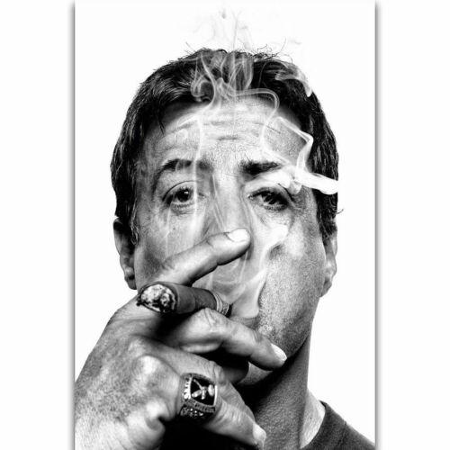 W609 Hot Sylvester Stallone Smoking Cigar Movie Star Poster Wall Silk Art Decor