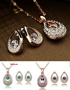 Rose Gold Plated Women's Bridal Teardrop Set Made With Swarovski Crystal Xs34 Jewelry Sets Jewelry & Watches