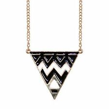 Black & White Enamel Triangle Pendant on a long Gold Tone Chain/Necklace - NEW!