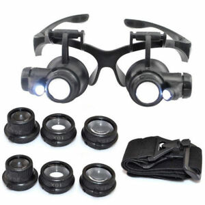 Pro-Magnifier-Magnifying-Eye-Glasses-Loupe-8-Lens-LED-Light-Jeweler-Watch-Repair