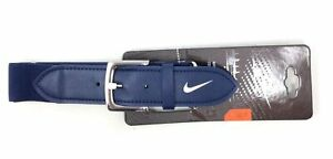 Nike-Adult-Leather-Baseball-Belt-Navy-Blue-amp-White-Adjustable-28-034-43-034-Waist