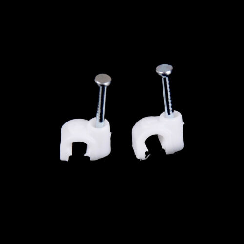 100 Pcs Wall Mount 4mm Dia Electric Cable Circle Nail Clips Fasteners Parts PVCA