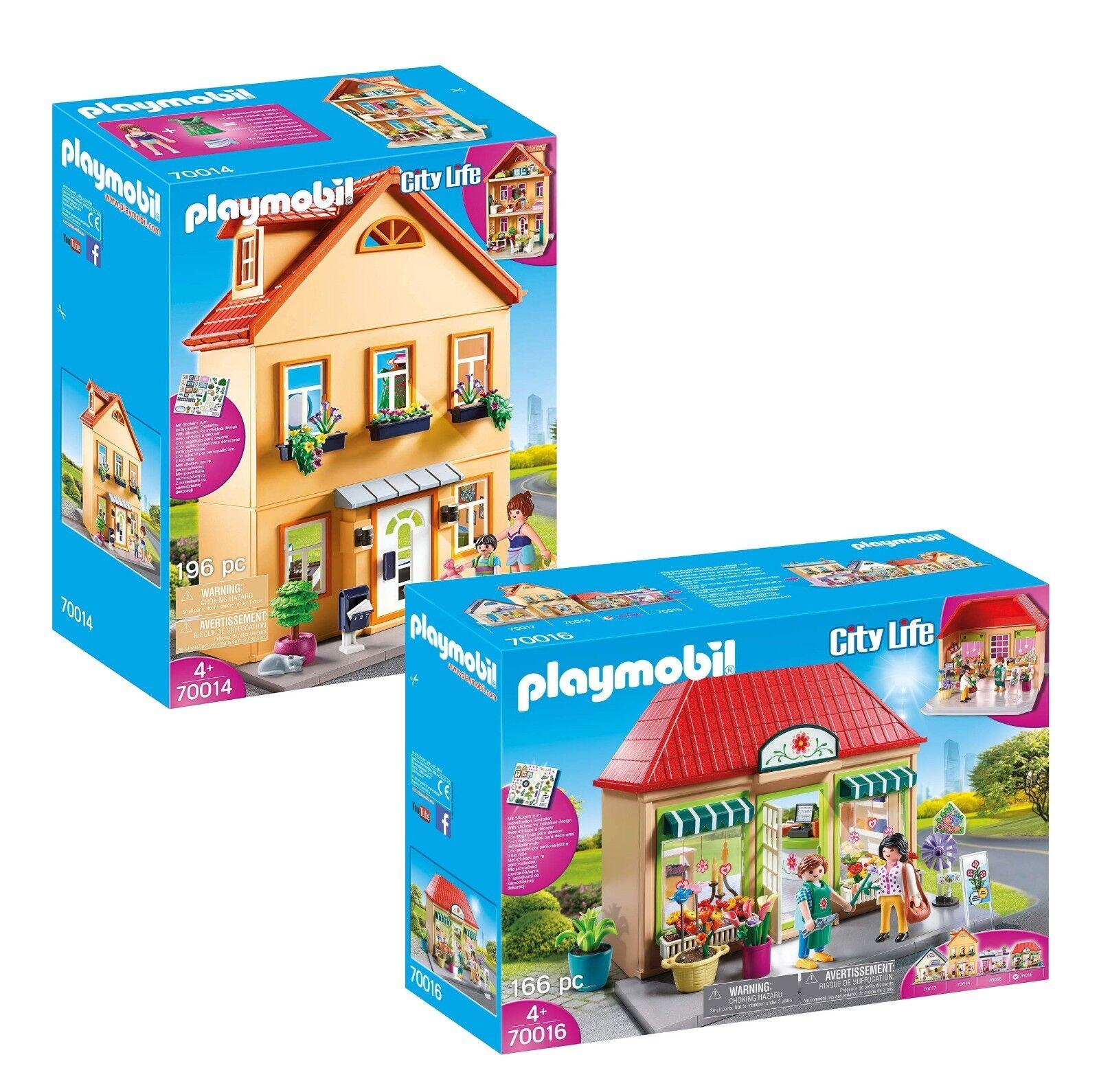 PLAYMOBIL® Set: 70014 Mein Stadthaus + 70016 Blumenladen, neu