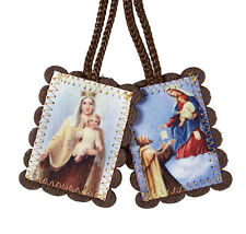 Large Brown Wool Scapular with Pouch and Explanation (WC145) NEW