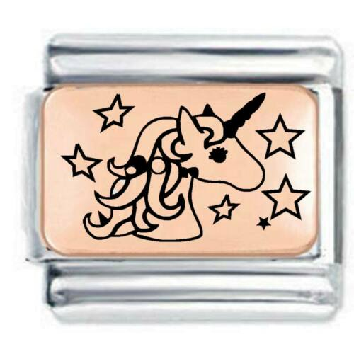 La Cima-Unicornio con Estrellas Oro Rosa Plata se ajusta nominación encanto de Oro