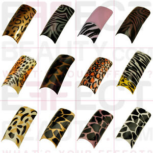 Image Is Loading 100 Animal Acrylic Pre Designed Nail Tips 21