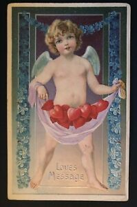 Large-Cupid-with-Hearts-Flowers-Antique-Embossed-Valentine-Postcard-b559