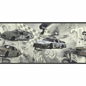 Classic Black And White Cars On The Track Nascar Wallpaper Border