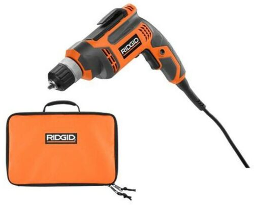 Corded Drill//Driver Power Tool Drilling Bag Variable Speed RIDGID 8 Amp 3//8 in