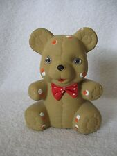 Ceramic Teddy Bear Coin Money Bank Tan Bear with Red White Spots & Red Bow Tie