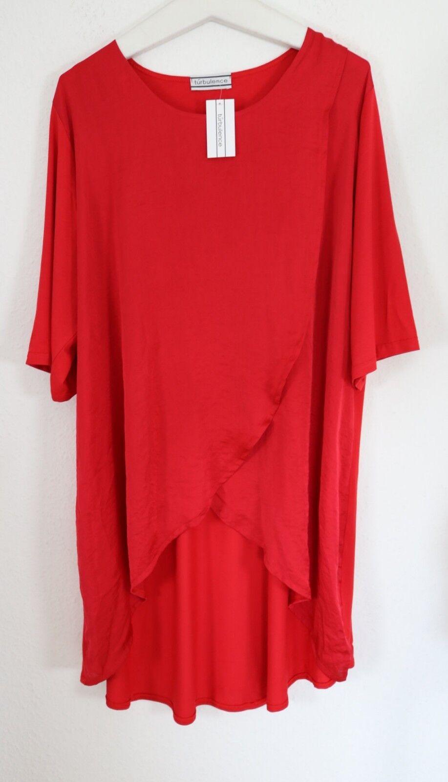 Turbulence LAGENLOOK Luxus Basic Tunika Kleid 52 54 XXL mit Satin NEU