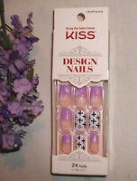 Kiss Design Nails 24 Glue-on Purple & Star, Cross Idmt634 Rare