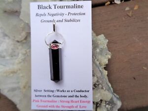 Black-Pink-Tourmaline-Silver-Pendant-Double-Protection-Strong-Heart-Energy