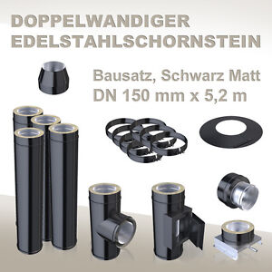 dw edelstahlschornstein dn 150 mm x 5 2 m schornstein edelstahl schwarz matt ebay. Black Bedroom Furniture Sets. Home Design Ideas