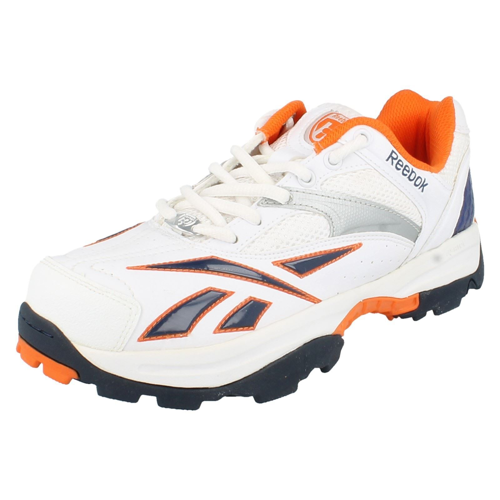 Reebok Mens Lace Up Trainers - Game Trainer White Silver Paprika Royal