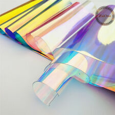Transparent Clear Holographic Iridescent PVC Fabric Mirror Film Vinyl Bag Craft