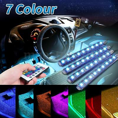 4x 12cm RGB 5050 Car LED Strip Interior Underdash Floor Atmosphere Light Lamp