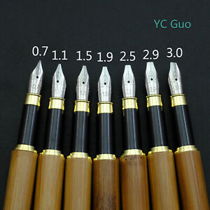 Bamboo-Stub-Nib-Fountain-Pen-7-Nib-Size-For-Choice-Including-An-Italic-Nib
