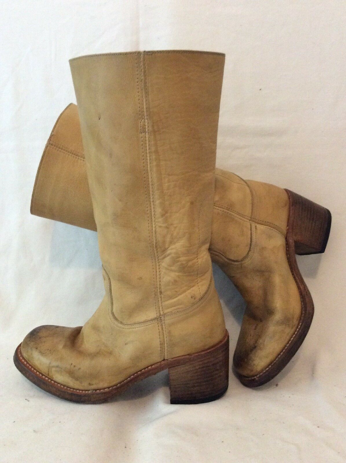 SENDRA Beige Mid Calf Leather Boots Size 6