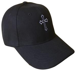 Black-Christian-Cross-Religious-Baseball-Cap-Caps-Hat-God-Jesus-White-Stitch-OL