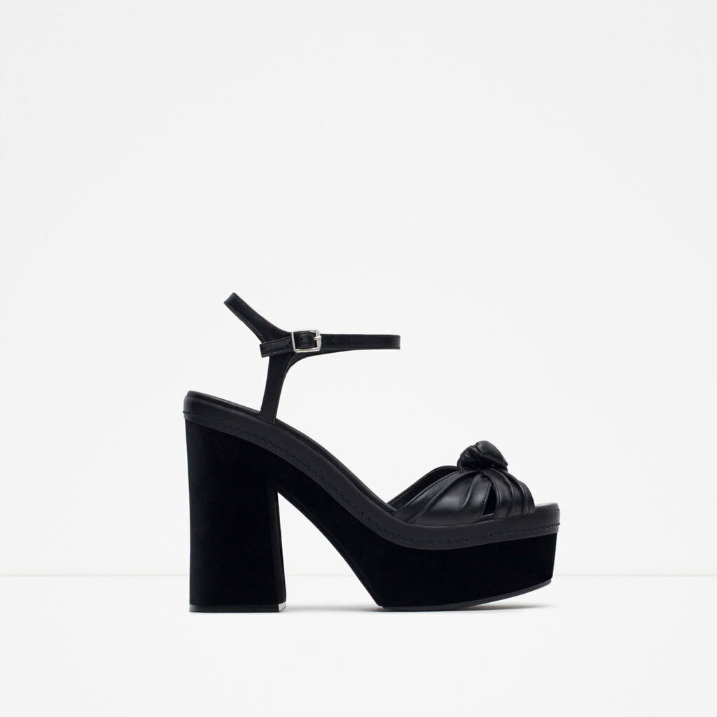 ZARA Leather Platform Block Heel Sandals Black US Women's Size 9 NWB