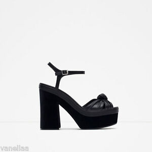 0f9d3dba86b6 ZARA Leather Platform Block Heel Sandals Black US Women s Size 9 NWB ...