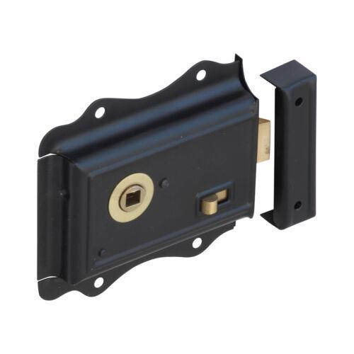 Fantaisie Noir Ornate Rim Lock avec Laiton Détail et Snib BH1010BL