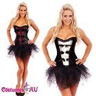 Ladies Burlesque Boned Corset Fancy Dress Costume Bustier Womens Tutu Skirt