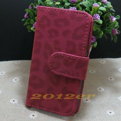 New Sexy Matte Leopard Skin Credit Card Slots Flip Case Cover For LG Phone