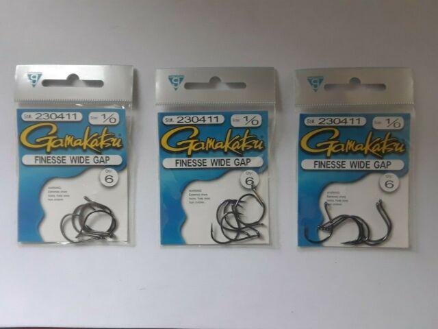 Gamakatsu Gs241534 Finesse Wide Gap Hook Size 4//0 NS Black per 5 230414 for sale online