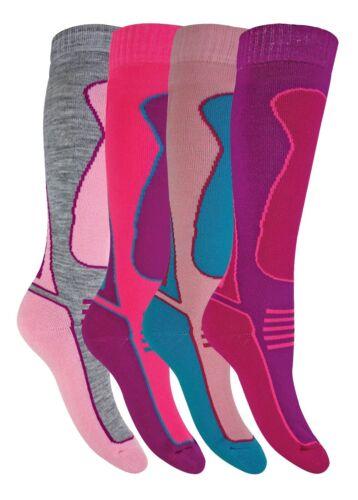 4 Pack Kids Girls Boys Extra Long Warm Knee High Padded Wool Blend Ski Socks