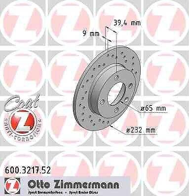Disque de frein arriere ZIMMERMANN PERCE 600.3217.52 VW POLO 6N2 1.6 16V GTI 125